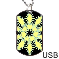 Yellow Snowflake Icon Graphic On Black Background Dog Tag USB Flash (One Side)