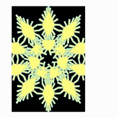 Yellow Snowflake Icon Graphic On Black Background Small Garden Flag (Two Sides)