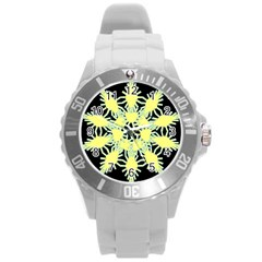 Yellow Snowflake Icon Graphic On Black Background Round Plastic Sport Watch (L)