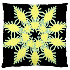 Yellow Snowflake Icon Graphic On Black Background Large Cushion Case (Two Sides)