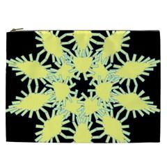 Yellow Snowflake Icon Graphic On Black Background Cosmetic Bag (xxl)