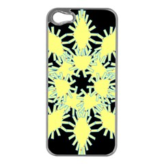 Yellow Snowflake Icon Graphic On Black Background Apple iPhone 5 Case (Silver)