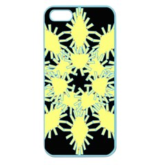 Yellow Snowflake Icon Graphic On Black Background Apple Seamless Iphone 5 Case (color)