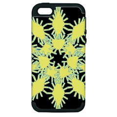 Yellow Snowflake Icon Graphic On Black Background Apple Iphone 5 Hardshell Case (pc+silicone)