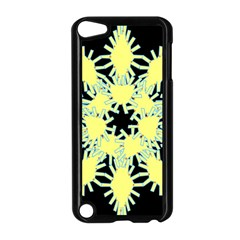 Yellow Snowflake Icon Graphic On Black Background Apple iPod Touch 5 Case (Black)