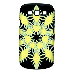 Yellow Snowflake Icon Graphic On Black Background Samsung Galaxy S III Classic Hardshell Case (PC+Silicone)