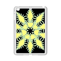 Yellow Snowflake Icon Graphic On Black Background iPad Mini 2 Enamel Coated Cases