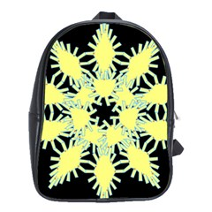 Yellow Snowflake Icon Graphic On Black Background School Bags (xl)