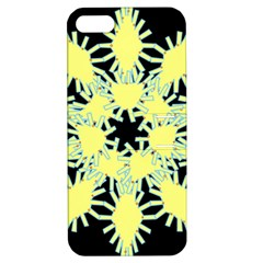 Yellow Snowflake Icon Graphic On Black Background Apple iPhone 5 Hardshell Case with Stand