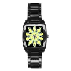 Yellow Snowflake Icon Graphic On Black Background Stainless Steel Barrel Watch