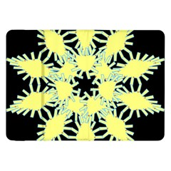 Yellow Snowflake Icon Graphic On Black Background Samsung Galaxy Tab 8 9  P7300 Flip Case