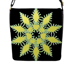 Yellow Snowflake Icon Graphic On Black Background Flap Messenger Bag (L)