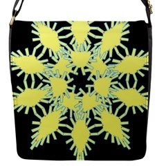 Yellow Snowflake Icon Graphic On Black Background Flap Messenger Bag (S)