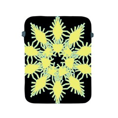 Yellow Snowflake Icon Graphic On Black Background Apple Ipad 2/3/4 Protective Soft Cases
