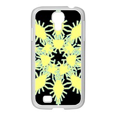 Yellow Snowflake Icon Graphic On Black Background Samsung GALAXY S4 I9500/ I9505 Case (White)