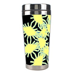 Yellow Snowflake Icon Graphic On Black Background Stainless Steel Travel Tumblers