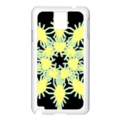 Yellow Snowflake Icon Graphic On Black Background Samsung Galaxy Note 3 N9005 Case (white)
