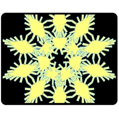 Yellow Snowflake Icon Graphic On Black Background Double Sided Fleece Blanket (medium)