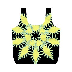 Yellow Snowflake Icon Graphic On Black Background Full Print Recycle Bags (m)