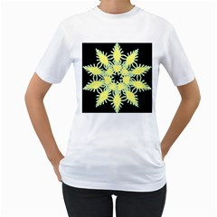 Yellow Snowflake Icon Graphic On Black Background Women s T Shirt (white)