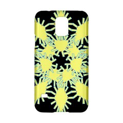 Yellow Snowflake Icon Graphic On Black Background Samsung Galaxy S5 Hardshell Case