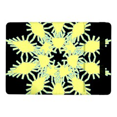 Yellow Snowflake Icon Graphic On Black Background Samsung Galaxy Tab Pro 10 1  Flip Case
