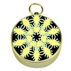 Yellow Snowflake Icon Graphic On Black Background Gold Compasses