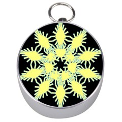 Yellow Snowflake Icon Graphic On Black Background Silver Compasses