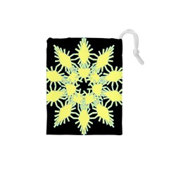 Yellow Snowflake Icon Graphic On Black Background Drawstring Pouches (small)