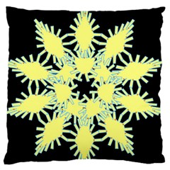 Yellow Snowflake Icon Graphic On Black Background Large Flano Cushion Case (One Side)