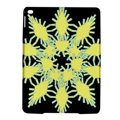 Yellow Snowflake Icon Graphic On Black Background Ipad Air 2 Hardshell Cases