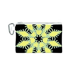 Yellow Snowflake Icon Graphic On Black Background Canvas Cosmetic Bag (s)
