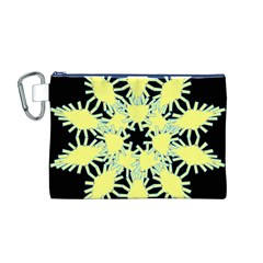 Yellow Snowflake Icon Graphic On Black Background Canvas Cosmetic Bag (M)