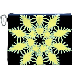 Yellow Snowflake Icon Graphic On Black Background Canvas Cosmetic Bag (XXXL)