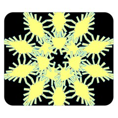 Yellow Snowflake Icon Graphic On Black Background Double Sided Flano Blanket (small)