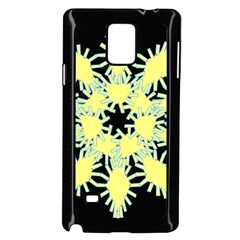 Yellow Snowflake Icon Graphic On Black Background Samsung Galaxy Note 4 Case (black)