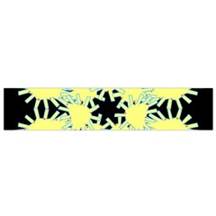Yellow Snowflake Icon Graphic On Black Background Flano Scarf (Small)