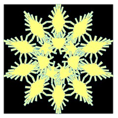 Yellow Snowflake Icon Graphic On Black Background Large Satin Scarf (square)