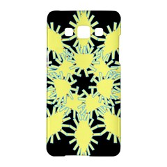 Yellow Snowflake Icon Graphic On Black Background Samsung Galaxy A5 Hardshell Case