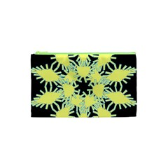 Yellow Snowflake Icon Graphic On Black Background Cosmetic Bag (xs)