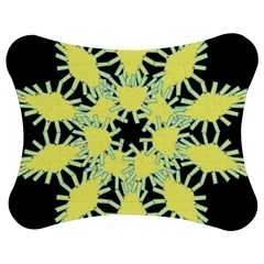 Yellow Snowflake Icon Graphic On Black Background Jigsaw Puzzle Photo Stand (Bow)