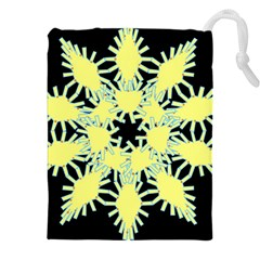 Yellow Snowflake Icon Graphic On Black Background Drawstring Pouches (XXL)