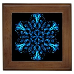 Blue Snowflake On Black Background Framed Tiles