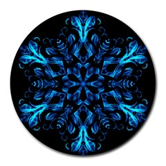 Blue Snowflake On Black Background Round Mousepads