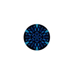 Blue Snowflake On Black Background 1  Mini Buttons