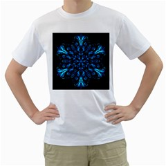 Blue Snowflake On Black Background Men s T-Shirt (White) (Two Sided)