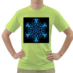 Blue Snowflake On Black Background Green T-Shirt