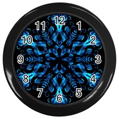 Blue Snowflake On Black Background Wall Clocks (black)