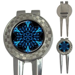 Blue Snowflake On Black Background 3-in-1 Golf Divots