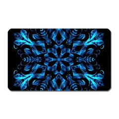 Blue Snowflake On Black Background Magnet (rectangular)